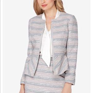 Tahari Arthur S Levine Pink/Grey Tweed Blazer {18}
